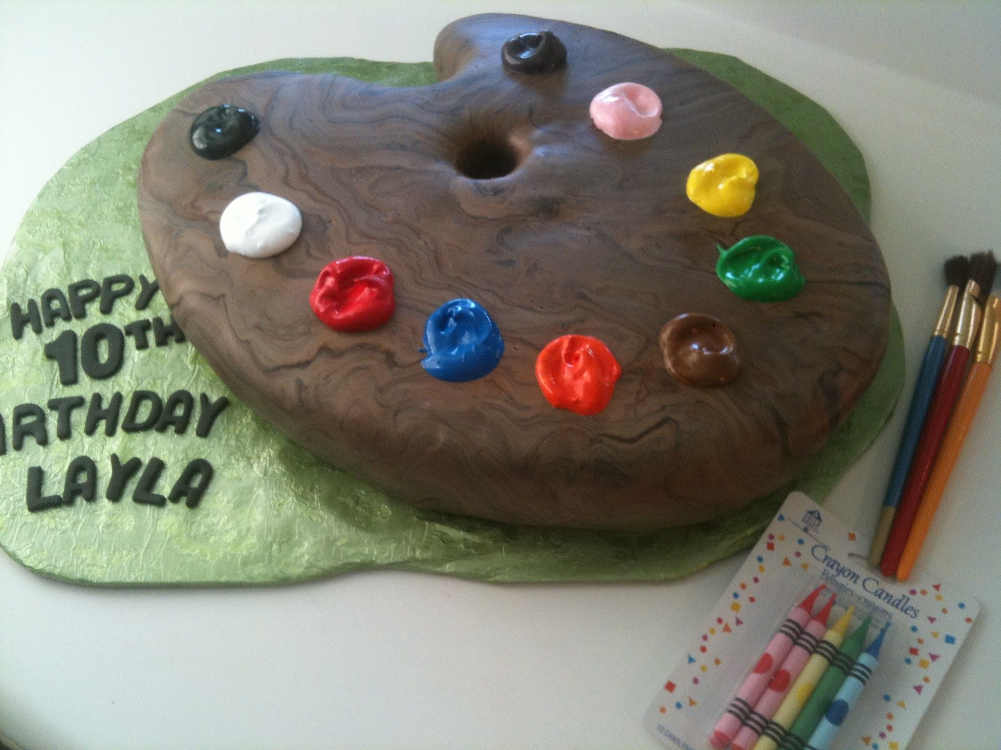 Paint pallet birthday cake by kb kakes sculpted cakes