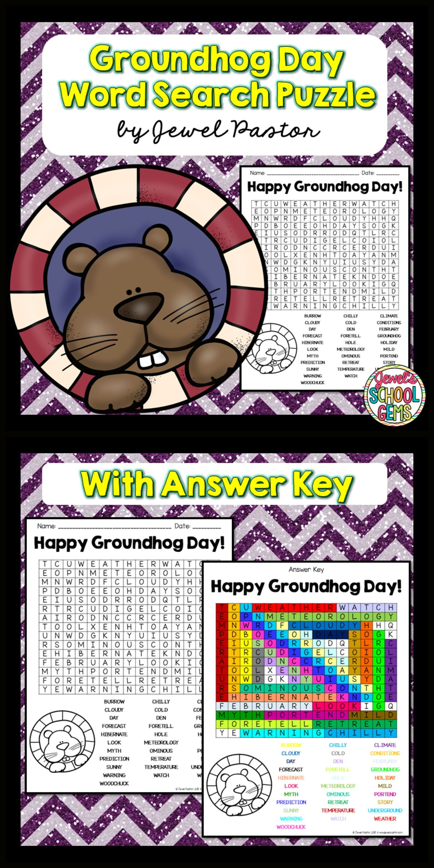 Groundhog Day Activities Groundhog Day Word Search
