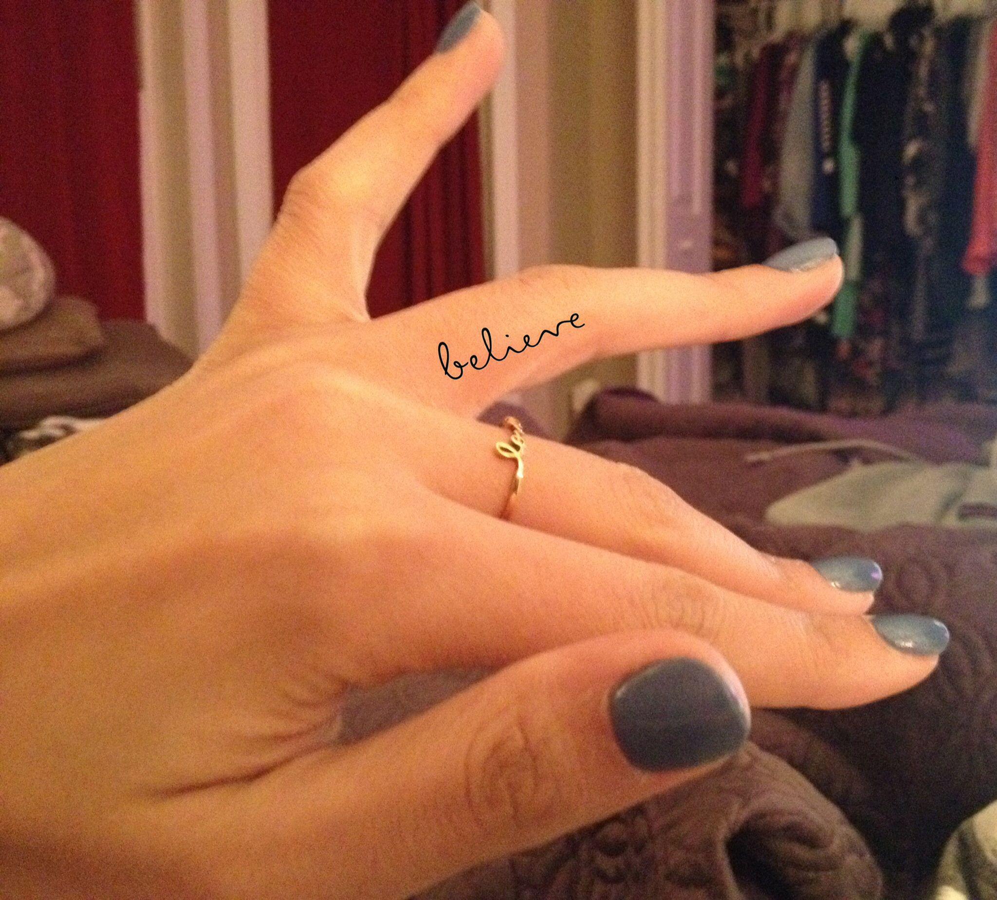 Small Script Believe Tattoo On Inner Ring Finger Photoshopped
