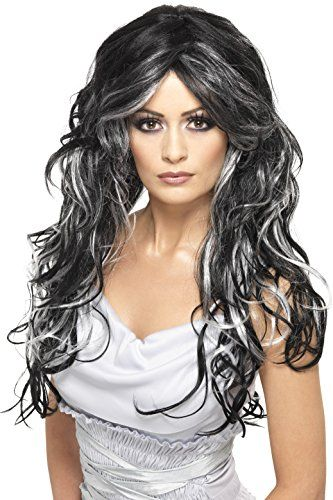 95d67687ce Smiffys Women's Long and Curly Wig with Silver and Black Streaks, One Size,  Gothic Bride Wig, 5020570358283 Best Halloween Costumes & Dresses USA