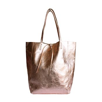 608131be79d6 Tania Italian Metallic Pink Leather Shopper Bag - £49.99