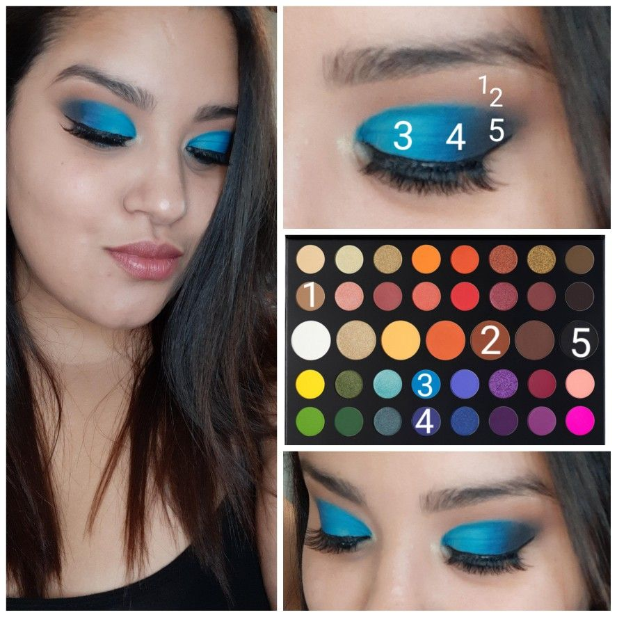 Cute Blue eyeshadow makeup look using the James charles
