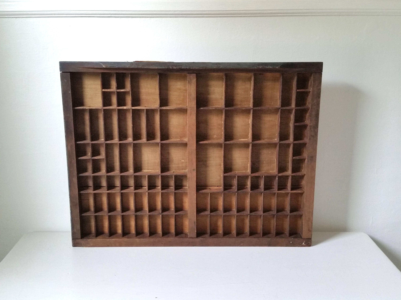 Antique Divided Wood Box   Letterpress Drawer   Wood Printer's Box