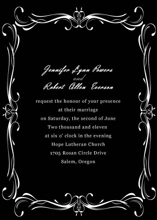 Black and White Wedding Invitations with Free RSVP cards and – Black and White Invitation Cards