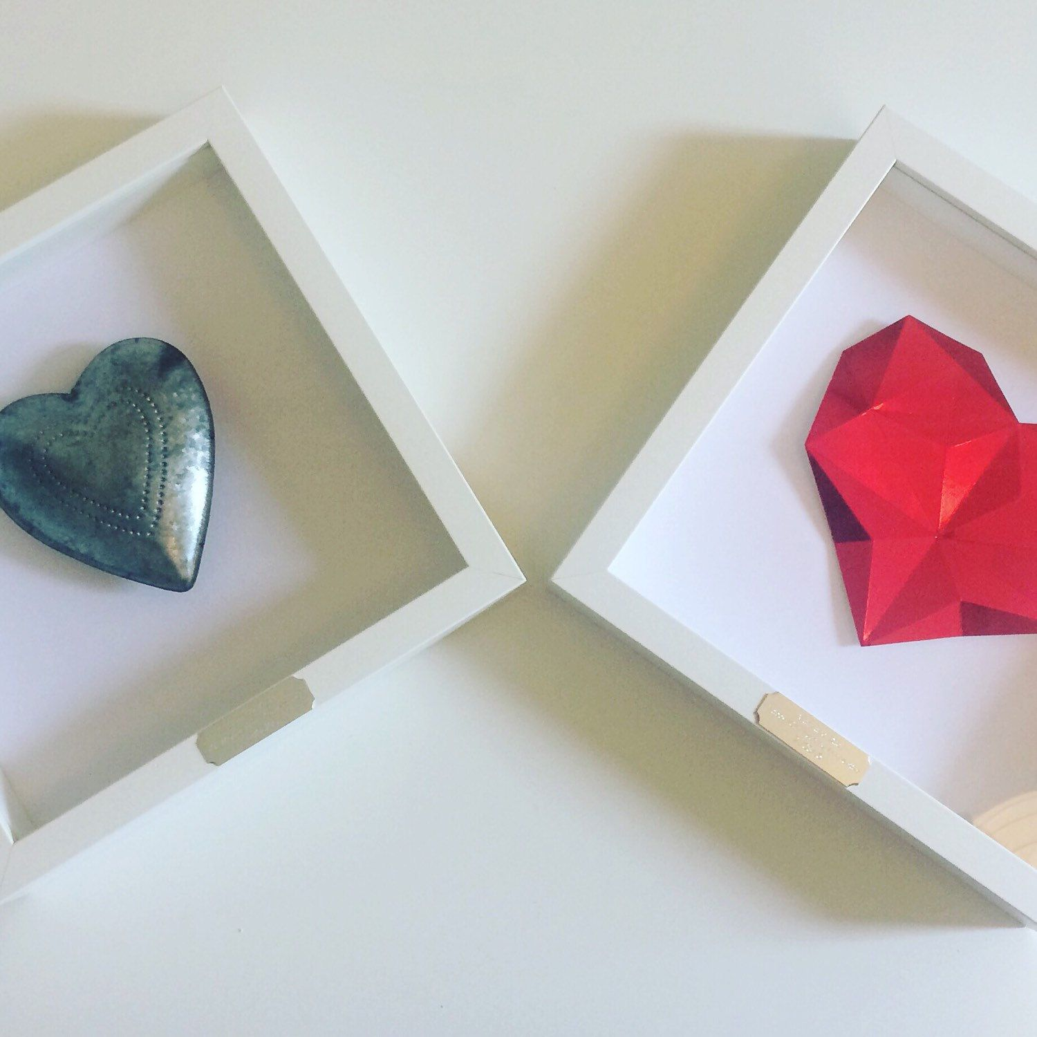 Framed Personalised Origami Ruby Heart 40th Wedding Anniversary
