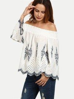 Blusa Ciganinha de Lese Bordada - Ref.880 Blusa Branca aa441965a6b
