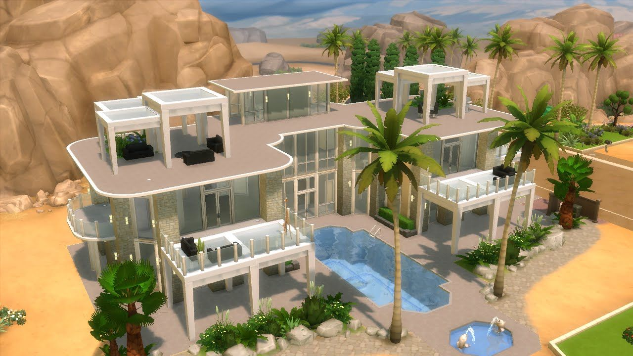The Sims 4 House Building Modern Mansion With Glass Floor Sims 4 Houses Sims 4 House Building Sims Freeplay Houses