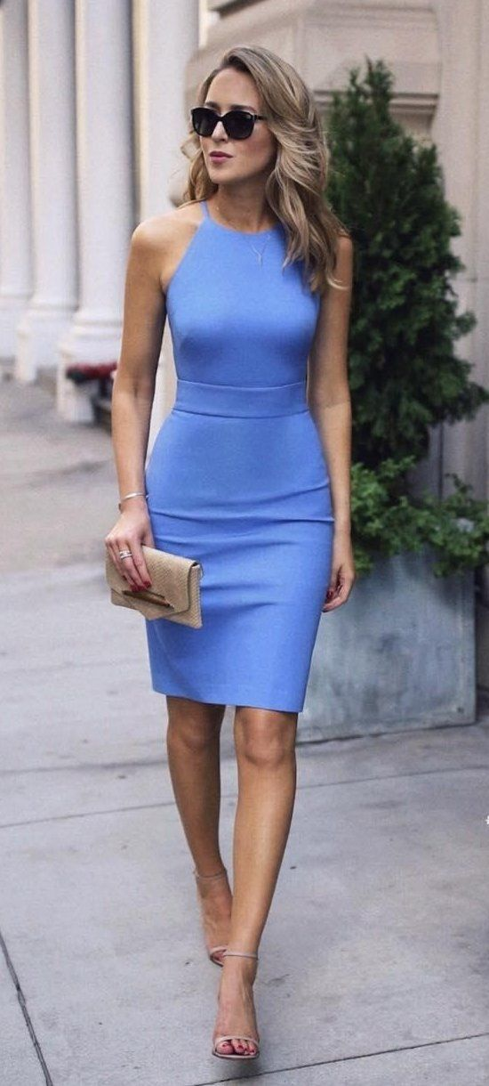 summer outfits Blue Midi Dress + Grey Sandals in 2019 ...