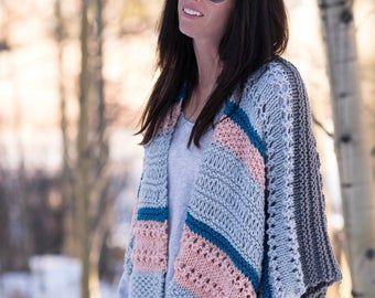 Photo of Painted Sky Shrug Beginner Knitting Pattern, Light Cardigan Knitting Pattern, Easy Knit Sweater Pattern, Hand Dyed Yarn Cardigan Knitting