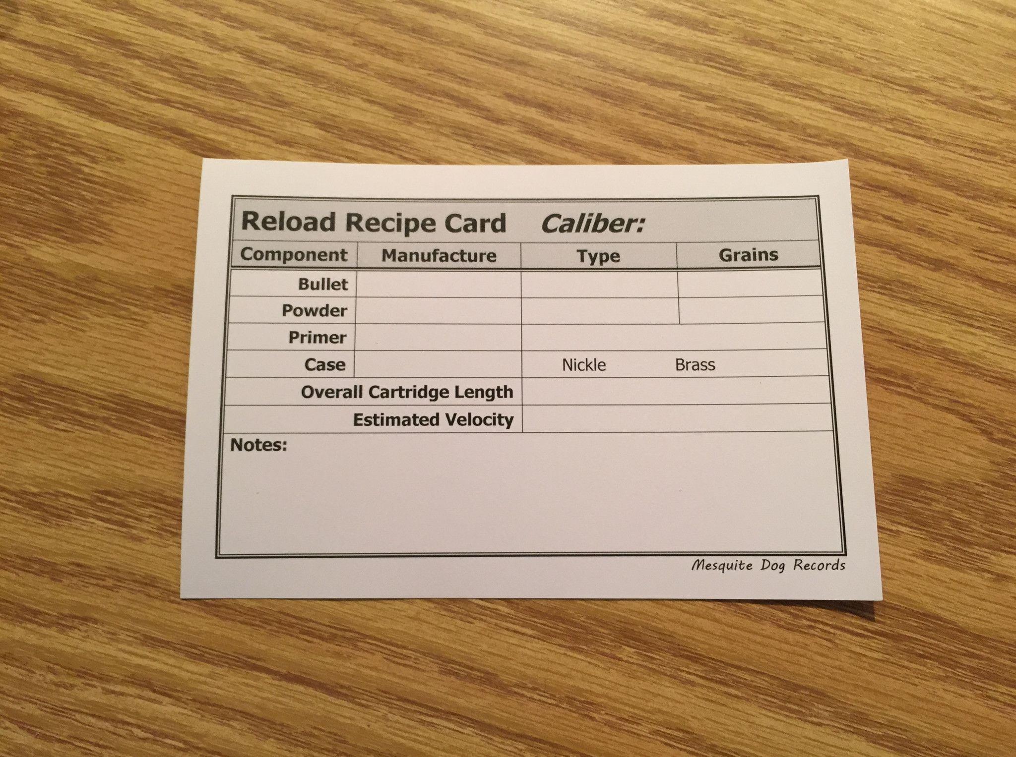 Reloading Recipe Cards  Recipe Cards Recipes And Guns