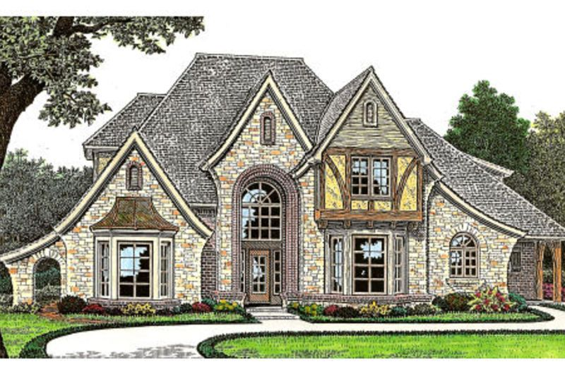 European Style House Plan - 4 Beds 4.5 Baths 3248 Sq/Ft Plan #310-643 Exterior - Front Elevation - Houseplans.com