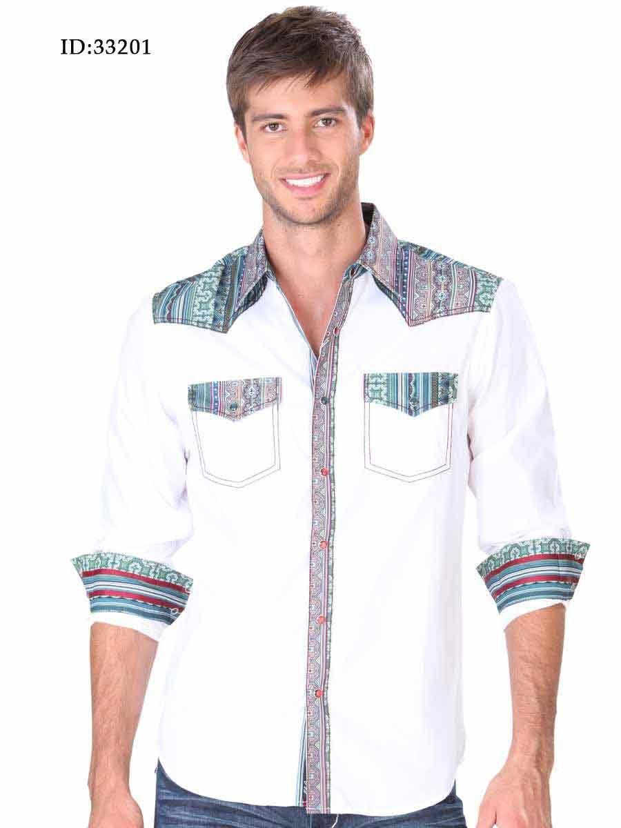 33201 Camisa Casual Caballero El Senor De Los Cielos, 65% Polyester 35%Cotton - White/Green