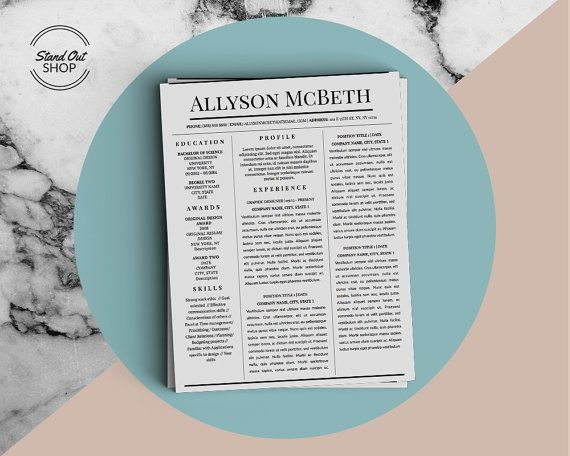 Allyson McBeth Resume 5 Pack for Microsoft Word  Apple Pages - resume 5 pages
