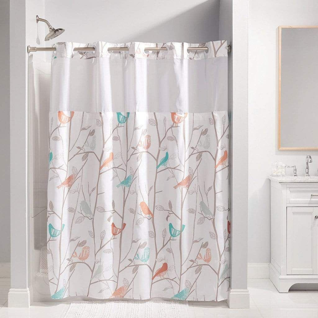 Scandiary Hookless Shower Curtain Includes Snap On Off
