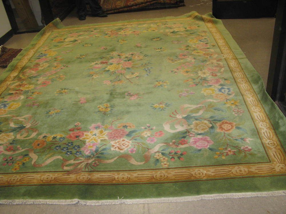 Vintage Green Floral Art Deco Chinese Area Rug 9 0 X 12 0 Hand Knotted Wool Green Art Deco Carpet Sale Rugs