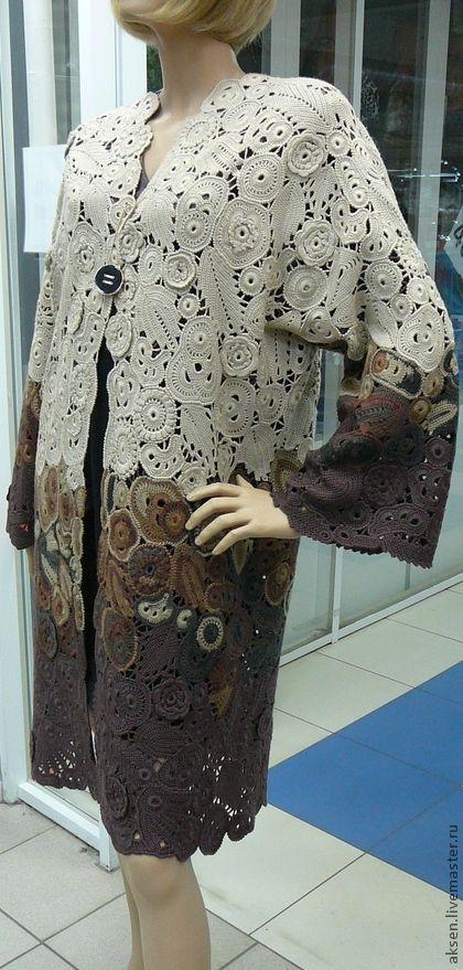 Пальто летнее - коричневый,ирландское кружево,пальто вязаное,пальто крючком: