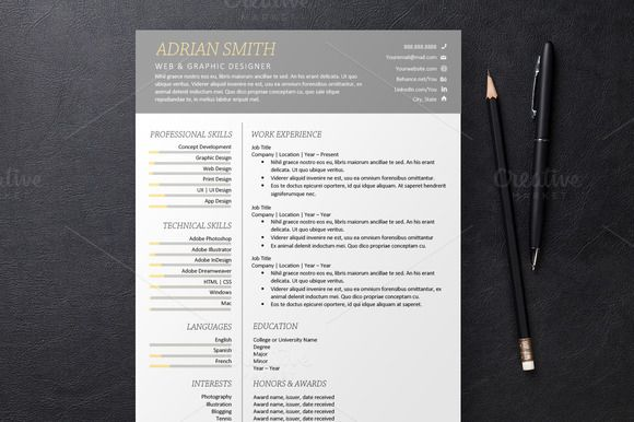 gray resume 3 templates  creativework247