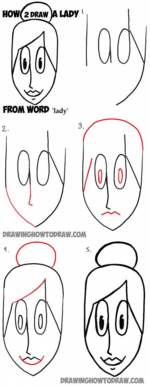 how to draw a woman or lady from the word lady simple step by step