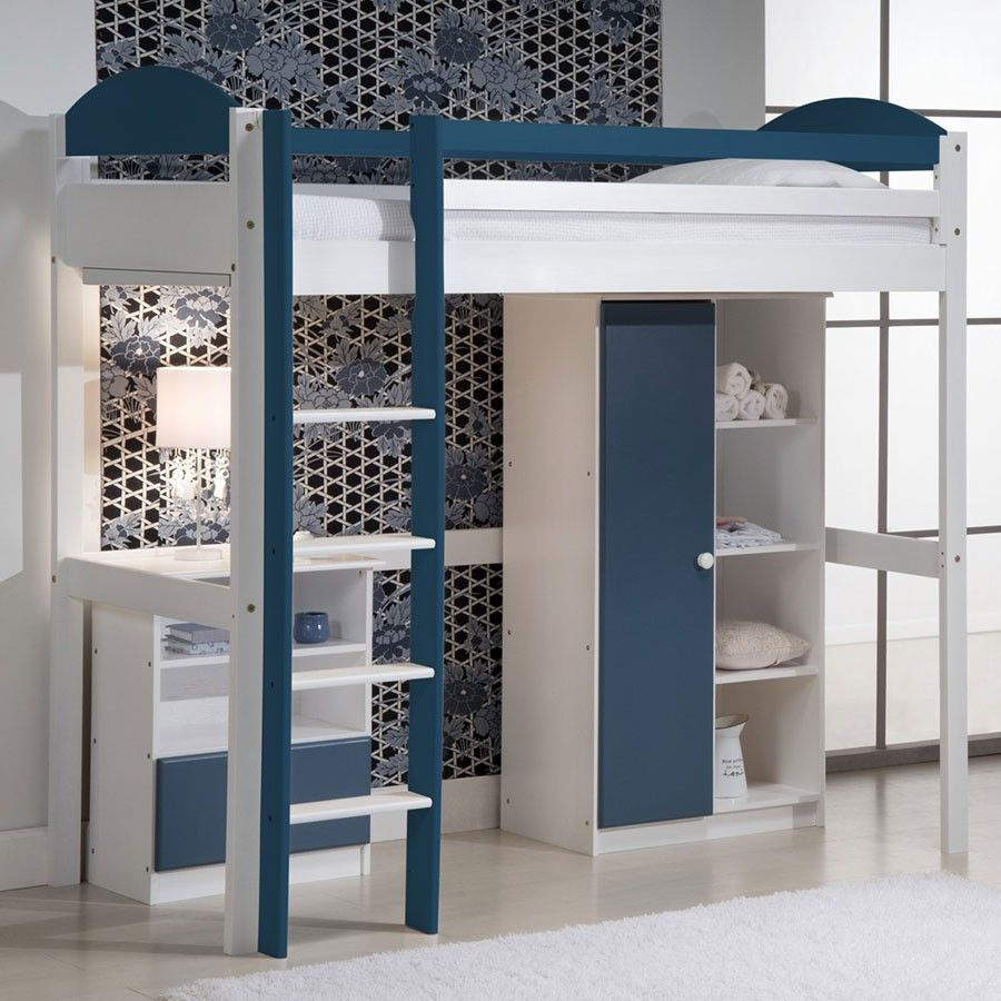 lit combin bleu en bois massif pour gar on lit combin. Black Bedroom Furniture Sets. Home Design Ideas
