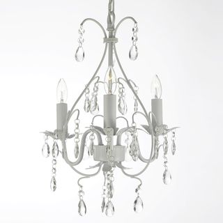 Wrought iron and crystal white chandelier pendant mini chandelier chandeliers pendant lighting overstock aloadofball Image collections