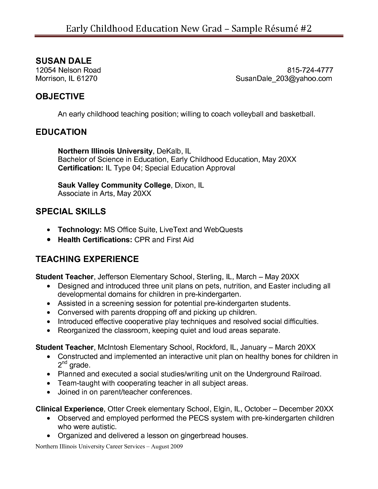 Early Childhood Education Resume Objective  College