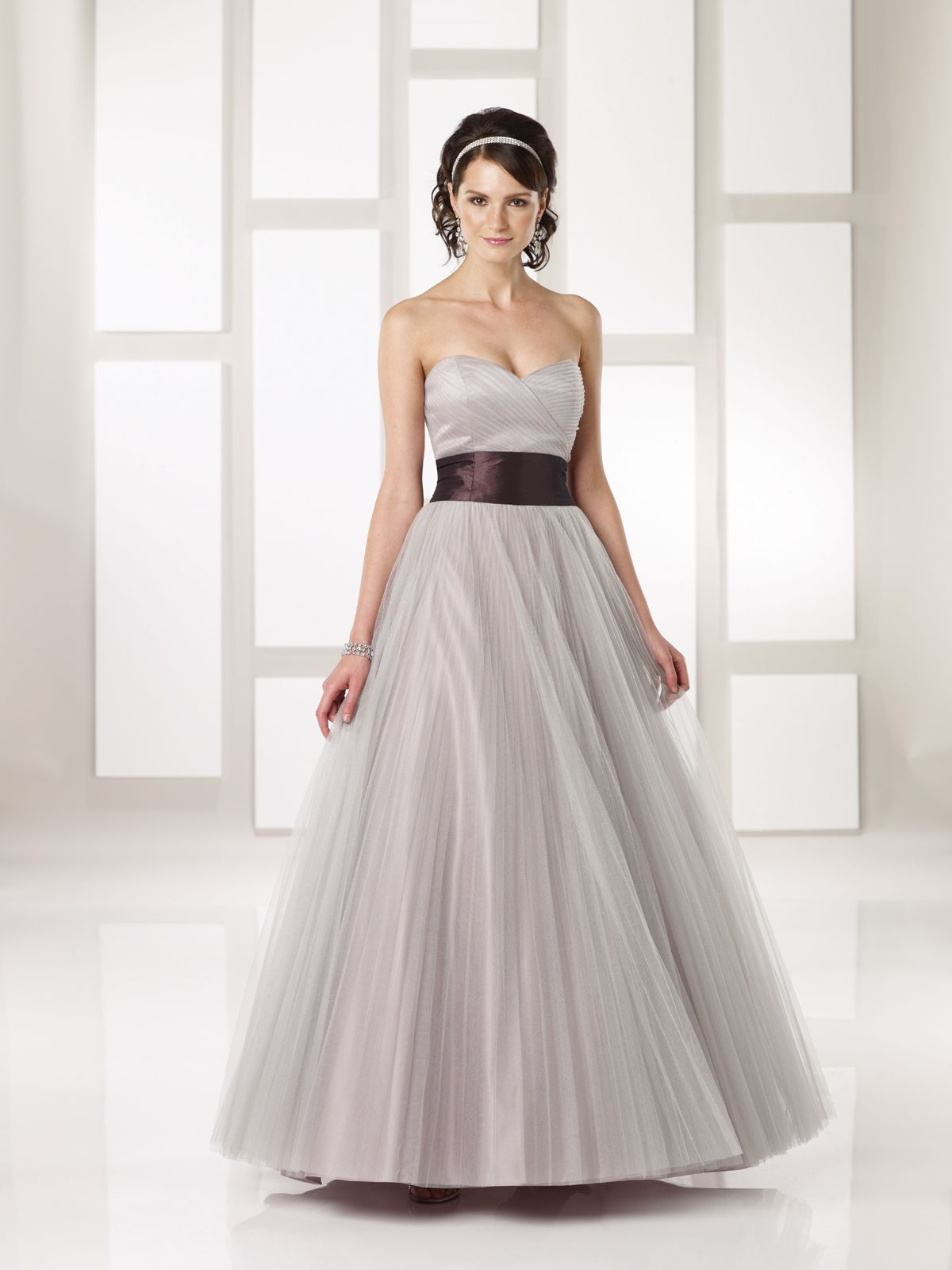 Tulle Over Satin Empire Dress