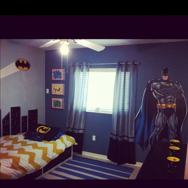 Boy\'s batman room. I like the batman decal by the window | Jaren\'s ...