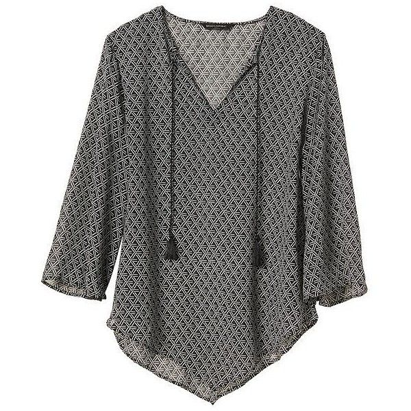 Banana Republic Factory Print V Hem Blouse ($19) ❤ liked on Polyvore featuring tops, blouses, pattern blouse, print top, banana republic, pattern tops and print blouse