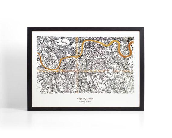 A3 Framed Custom London Coordinates Map - Gold Foil