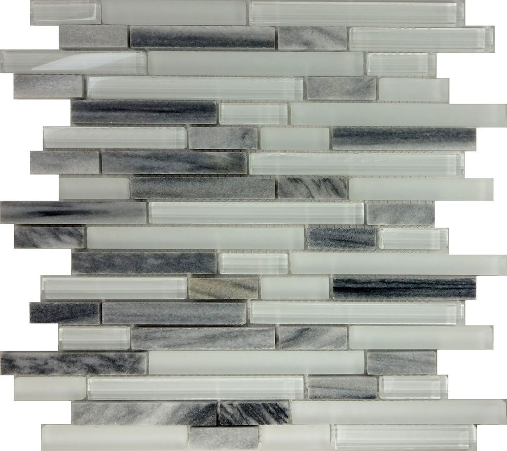 - SAMPLE- Gray White Glass Natural Stone Linear Mosaic Tile Kitchen