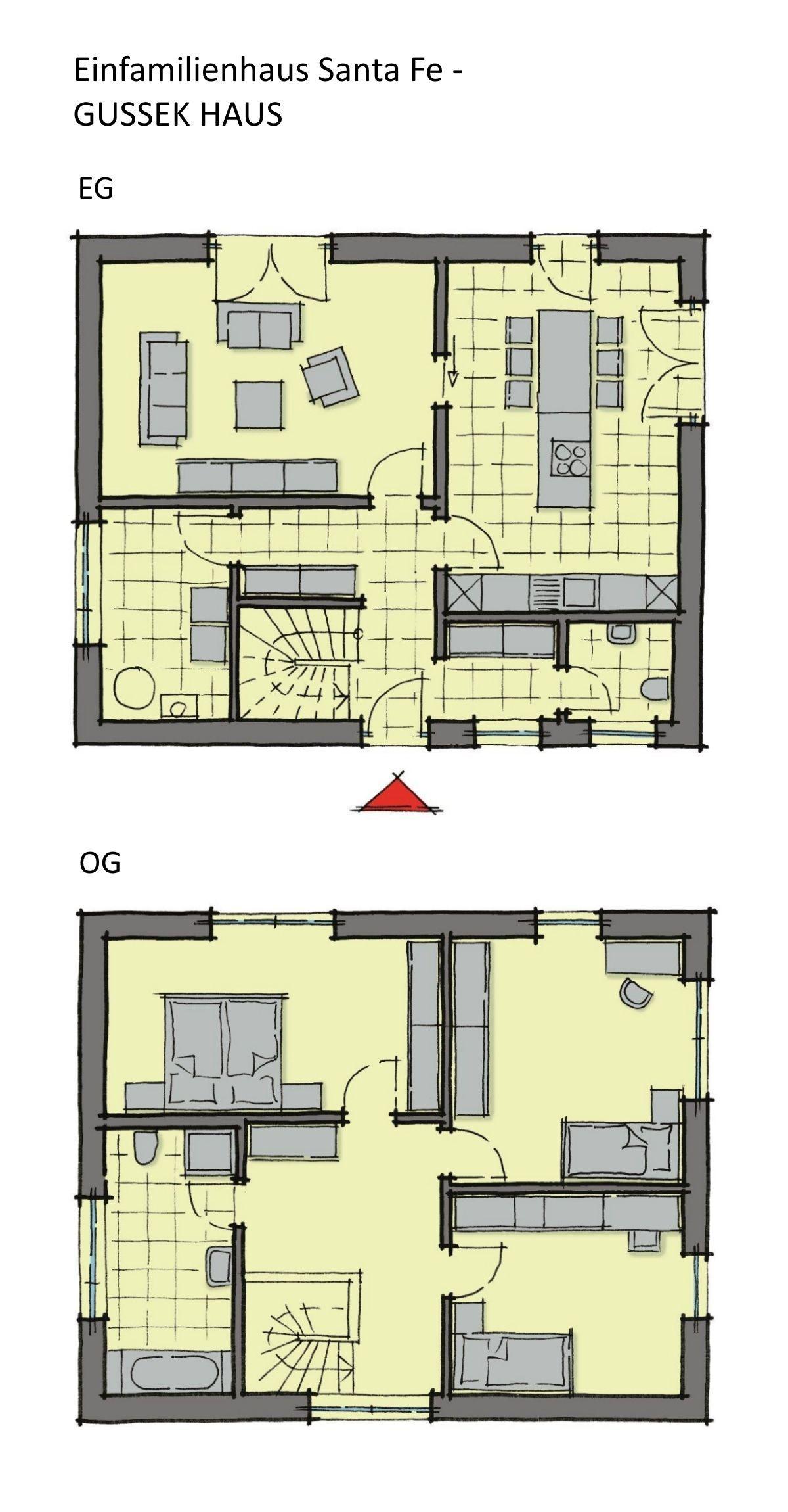 Grundriss Einfamilienhaus Neubau modern mit Flachdach