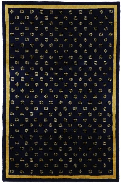 Navy Blue And Gold Area Rug With Hollywood Regency Style From A Unique Collection Of