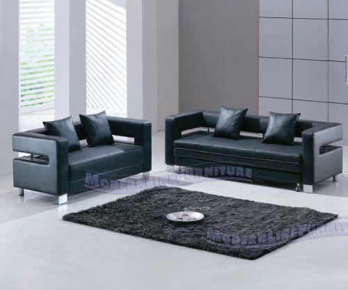 Strange Modern Black Leather Sofa Sleeper Loveseat Set By Modern Machost Co Dining Chair Design Ideas Machostcouk
