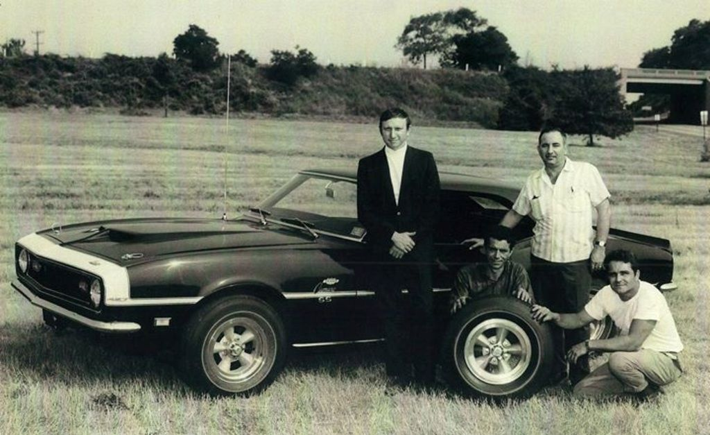 Don Yenko with one of his 1968 SS 427 Yenko Camaros and some people ...