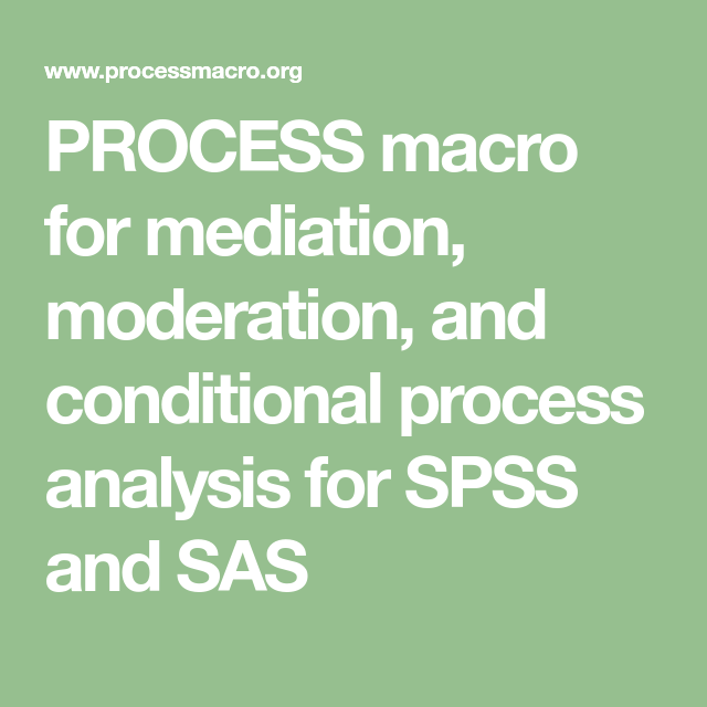 PROCESS macro for mediation, moderation, and conditional