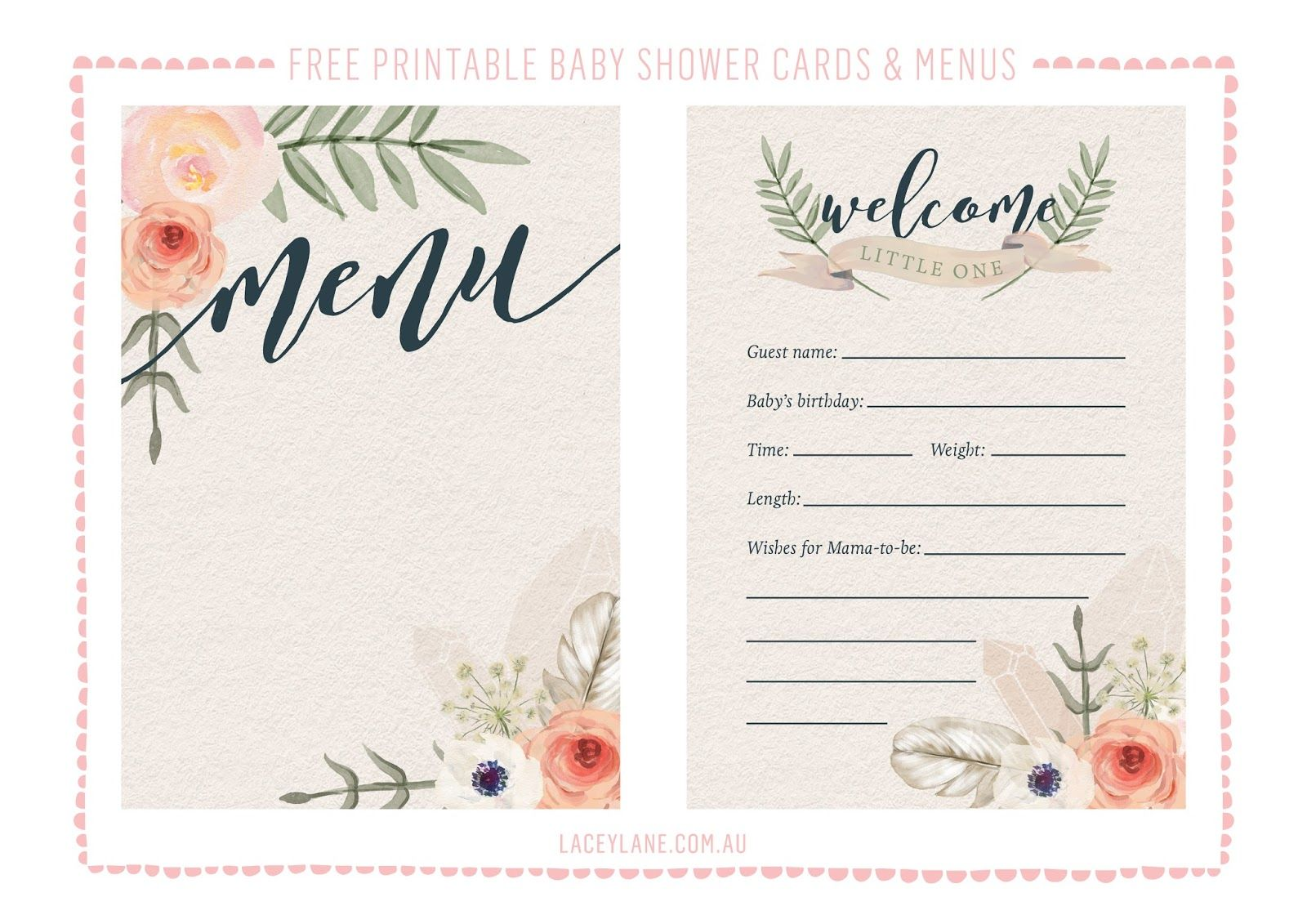 picture regarding Free Printable Baby Shower known as Cost-free Printables ♥ Traditional Boho Child Shower Playing cards LM Kid