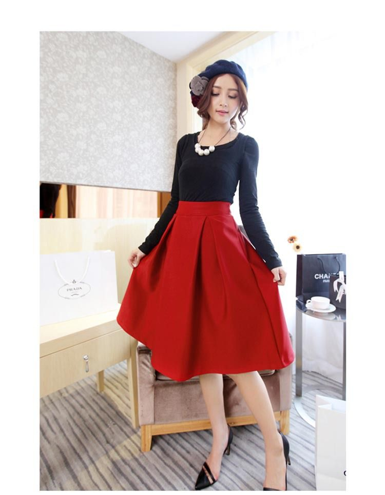 b60a887f27be2 Hot Sale Plus Size Spring Flared Skirt Pleated Midi Skirt Retro Style  Ladies High Waist Elegant Vintage Skirts Femininas Saias-in Skirts from  Women s ...
