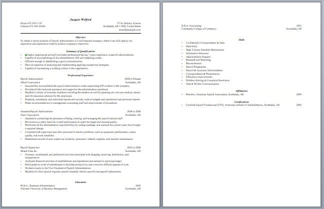 Awesome Payroll Administrator Resume