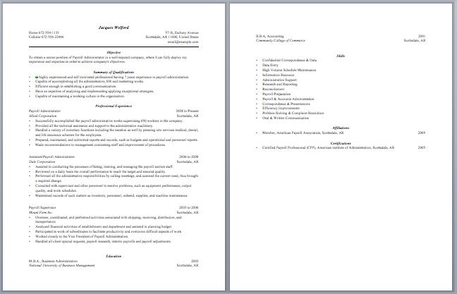 payroll administrator resume. Resume Example. Resume CV Cover Letter