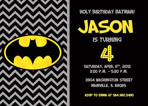 Batman Birthday Party Invitation Digital Printable File Birthday