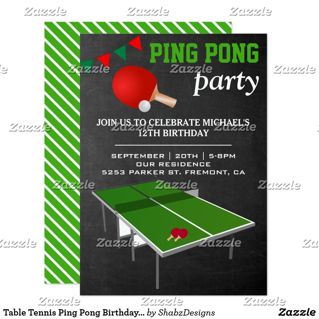 Table Tennis Ping Pong Birthday Party Invitation Zazzle Com Birthday Party Invitations Fun Birthday Party Party Invitations