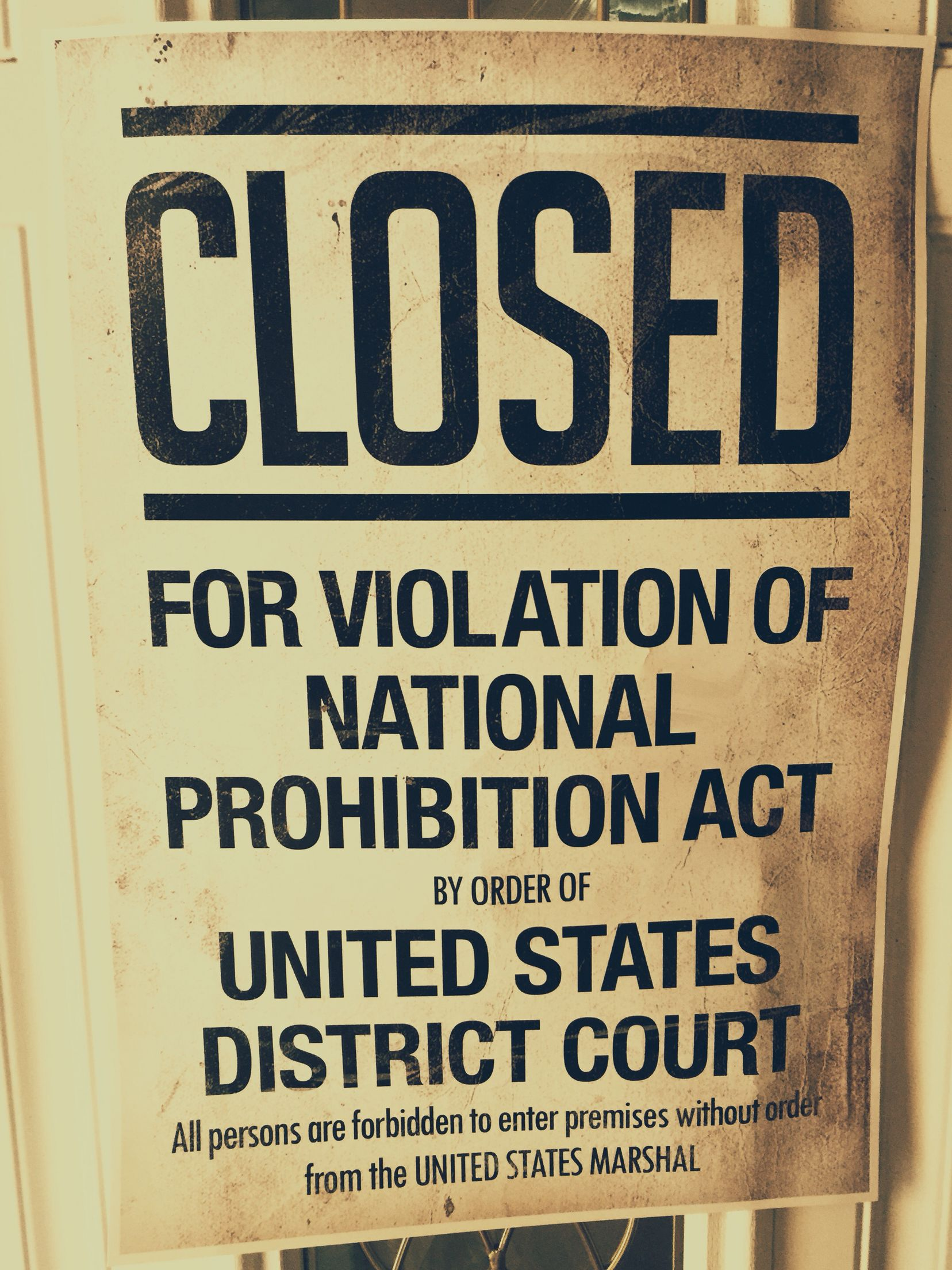 Prohibition sign found on Amazon. 1920s. Decor for our