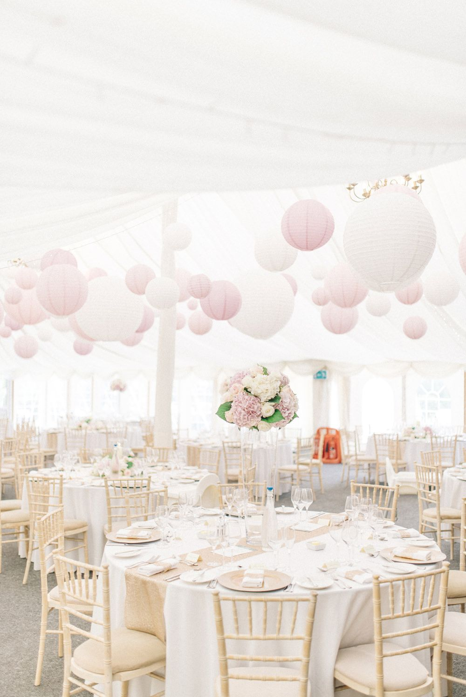 "Martini vase centrepiece - pale pink table arrangement - romantic pastel wedding flowers - ""http://sarahjaneethan.co.uk"""