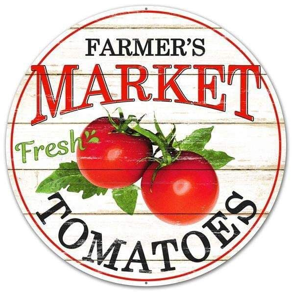 Farmers Market Tomatoes Round Sign Size: 12