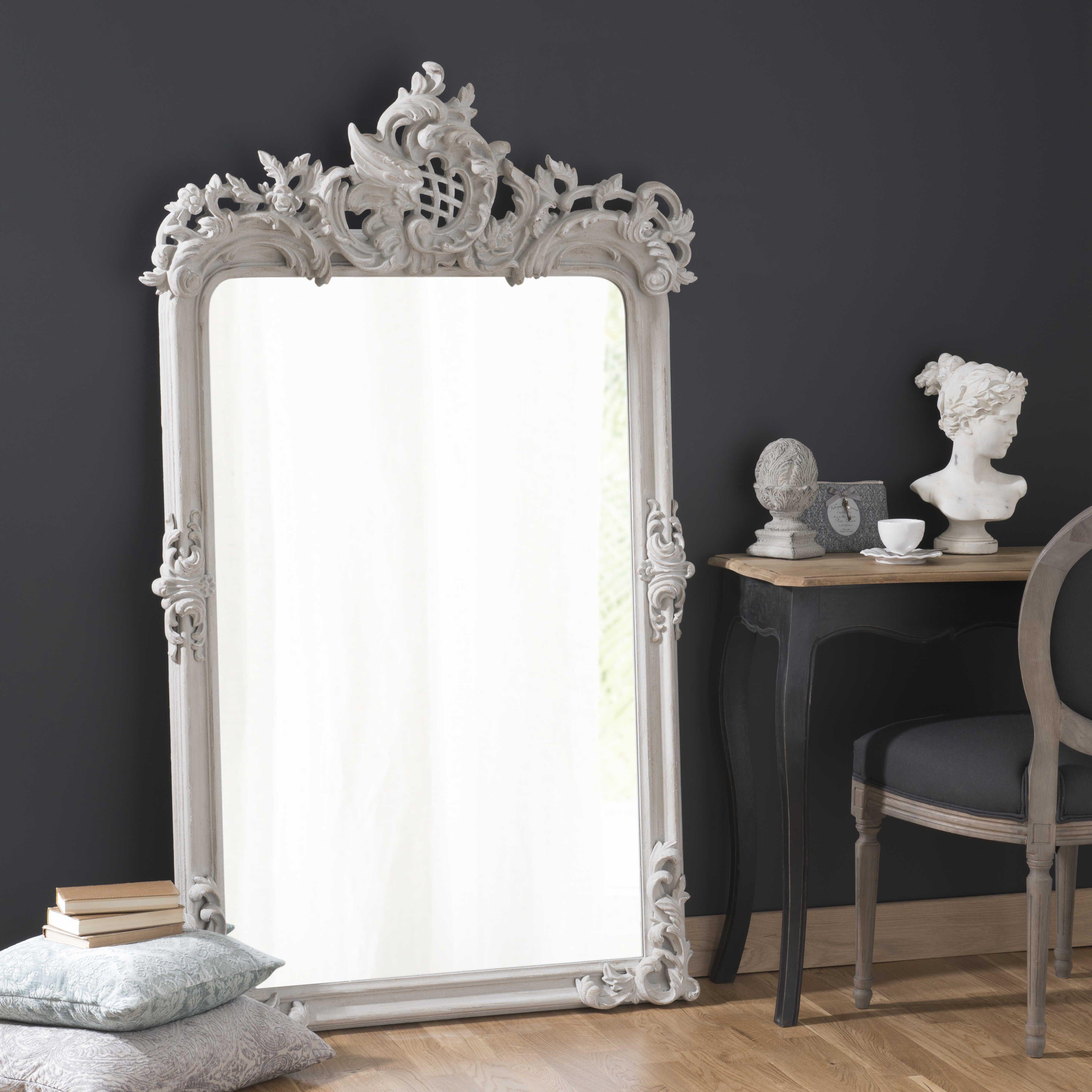 Maisons Du Monde Miroir En Bois Et Resine Gris H 160 Cm Isaure