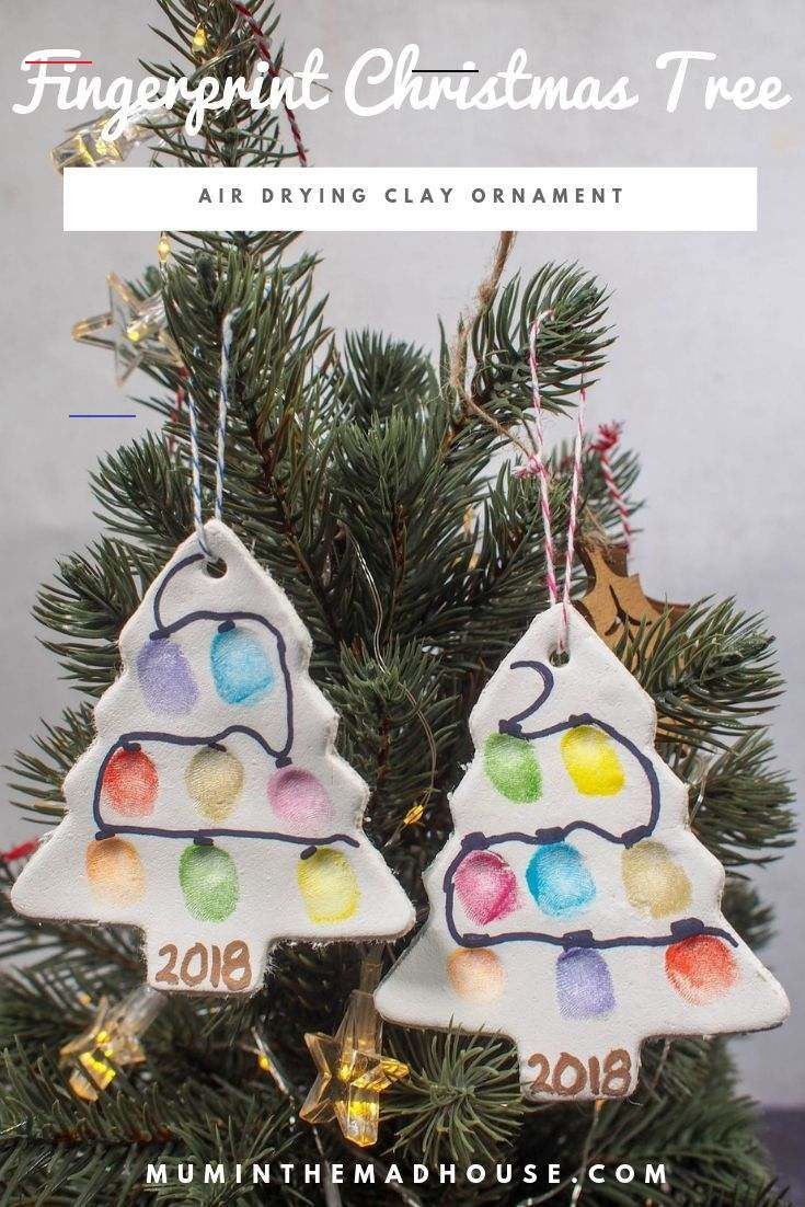 Fingerprint Christmas Tree Ornament Air Drying Clay
