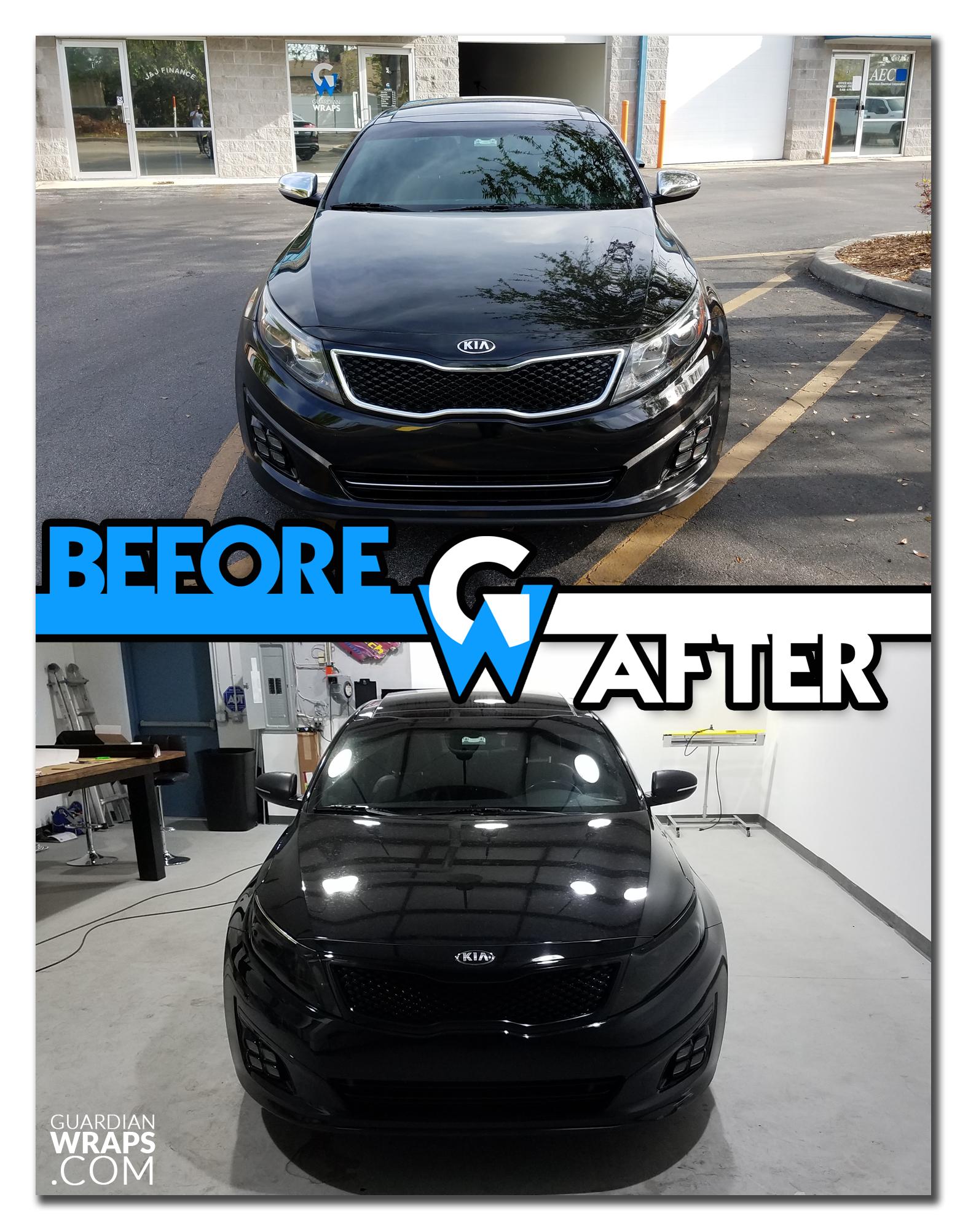 2014 Kia Optima Chrome Delete Headlight Tint Before After Rear Spoiler Vinyl Wrap Car Headlights