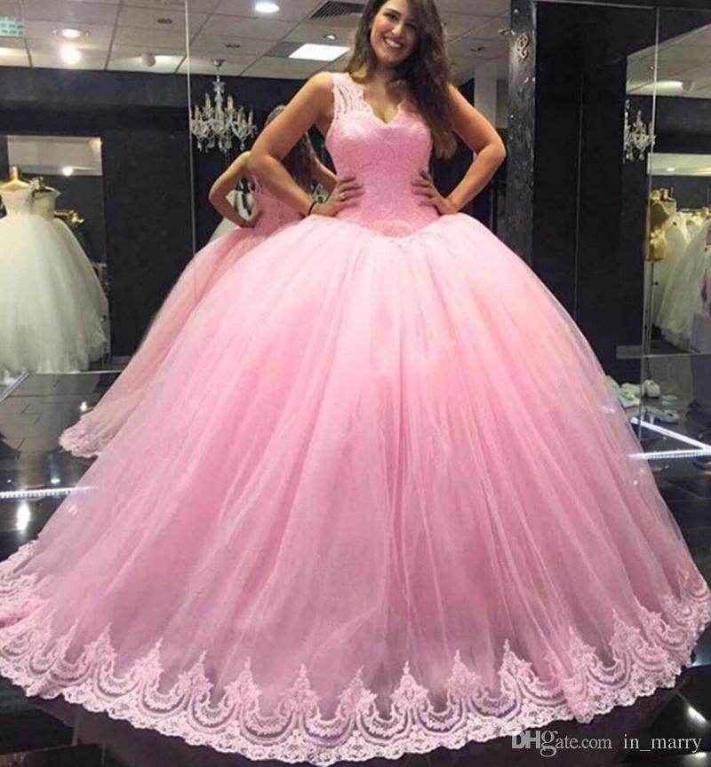 Light Pink Ball Gown Sweet 16 Quinceanera Dresses 2017 Sexy V Neck ...