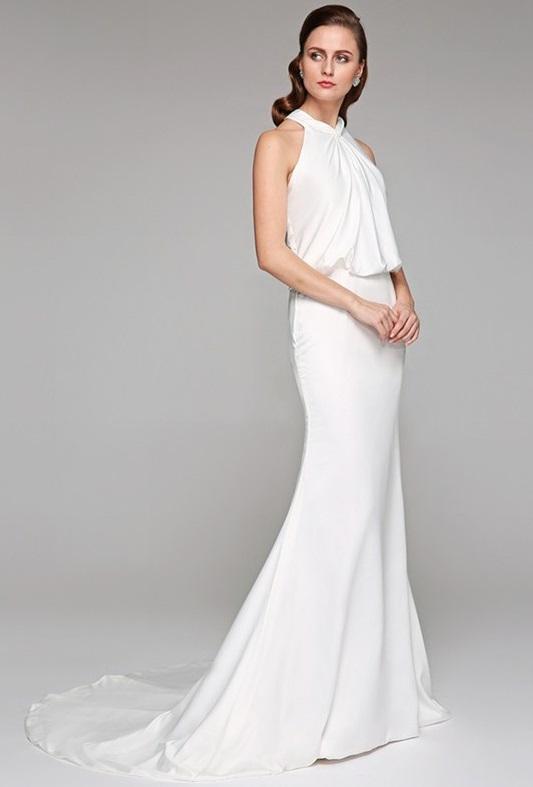 89942e71ff6 Satin Charmeuse Racerback Wedding Gown with High Neckline
