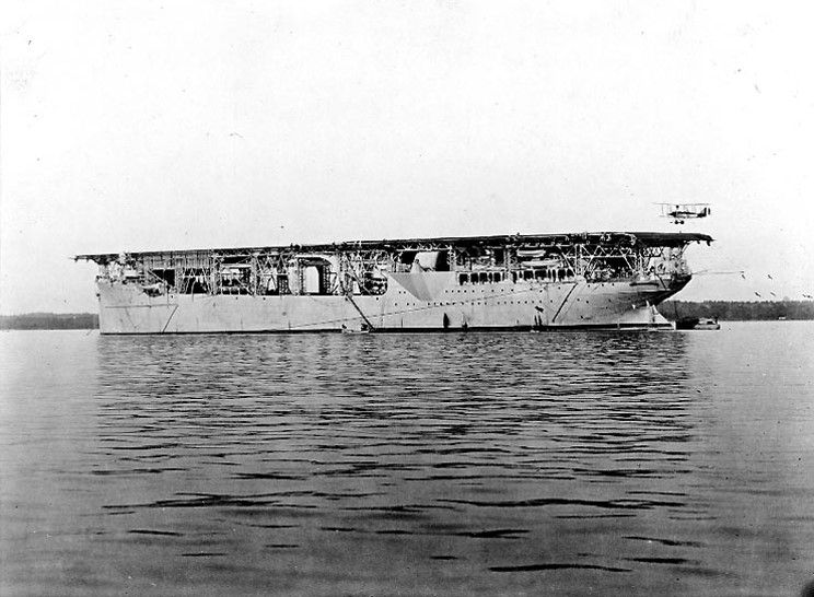 USS Langley (CV-1) named after Naval aviator Samuel Pierpoint Langley, converted from a collier to be commissioned as the Navy's first aircraft carrier in 1922.
